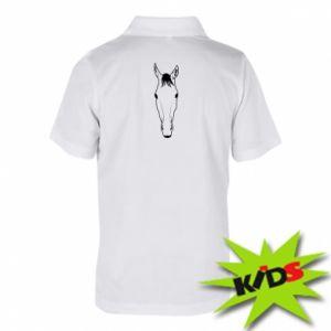 Dziecięca koszulka polo Horse portrait with lines - PrintSalon