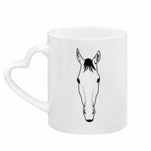 Kubek z uchwytem w kształcie serca Horse portrait with lines