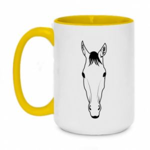 Kubek dwukolorowy 450ml Horse portrait with lines
