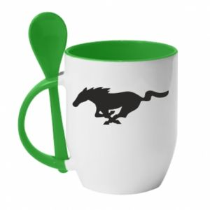 Kubek z ceramiczną łyżeczką Horse running - PrintSalon