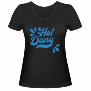Damska koszulka V-neck Hot Dang