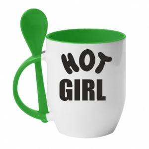 Kubek z ceramiczną łyżeczką Hot girl