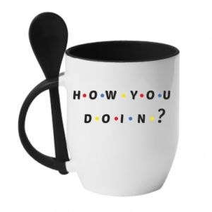 Mug with ceramic spoon How You Doing?