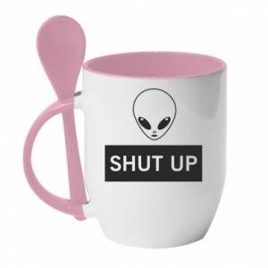 Kubek z ceramiczną łyżeczką Hsut up Alien