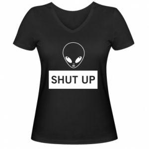 Damska koszulka V-neck Hsut up Alien