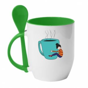 Mug with ceramic spoon Hugging a cup of coffee - PrintSalon