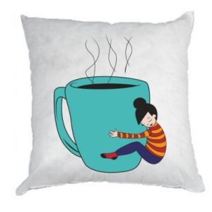 Pillow Hugging a cup of coffee - PrintSalon