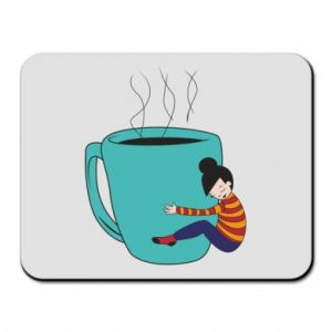 Mouse pad Hugging a cup of coffee - PrintSalon