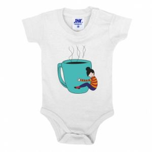 Baby bodysuit Hugging a cup of coffee - PrintSalon