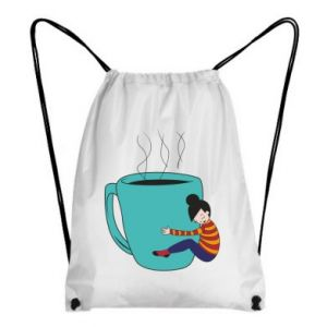 Backpack-bag Hugging a cup of coffee - PrintSalon
