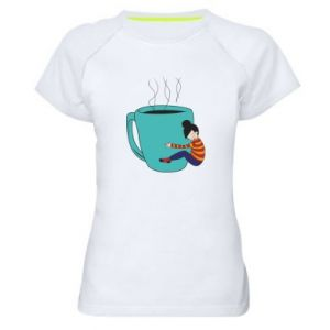Women's sports t-shirt Hugging a cup of coffee - PrintSalon