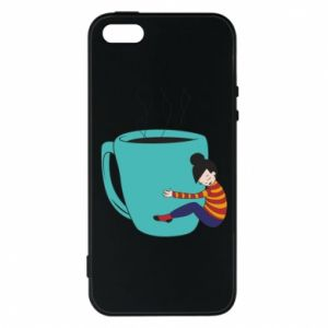 Phone case for iPhone 5/5S/SE Hugging a cup of coffee - PrintSalon