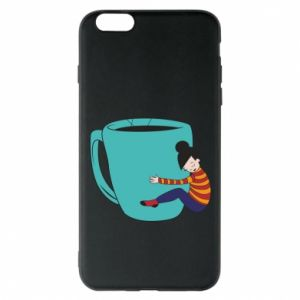 Phone case for iPhone 6 Plus/6S Plus Hugging a cup of coffee - PrintSalon