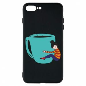 Phone case for iPhone 8 Plus Hugging a cup of coffee - PrintSalon