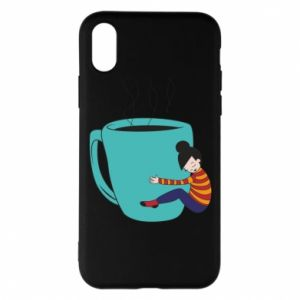 Phone case for iPhone X/Xs Hugging a cup of coffee - PrintSalon