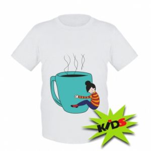 Kids T-shirt Hugging a cup of coffee