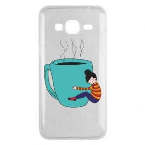 Phone case for Samsung J3 2016 Hugging a cup of coffee - PrintSalon
