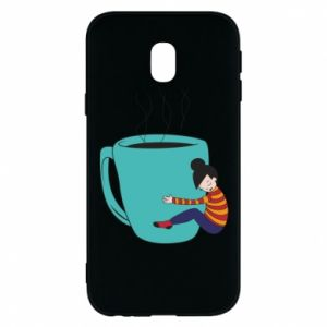 Phone case for Samsung J3 2017 Hugging a cup of coffee - PrintSalon