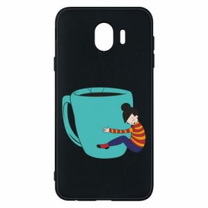 Phone case for Samsung J4 Hugging a cup of coffee - PrintSalon