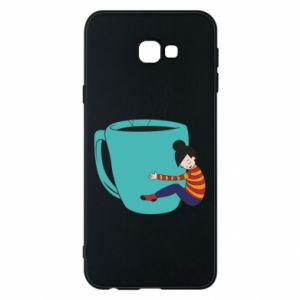 Phone case for Samsung J4 Plus 2018 Hugging a cup of coffee - PrintSalon