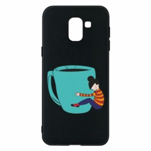 Phone case for Samsung J6 Hugging a cup of coffee - PrintSalon