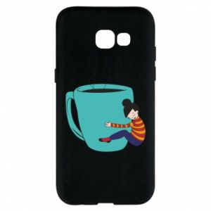 Phone case for Samsung A5 2017 Hugging a cup of coffee - PrintSalon