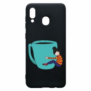 Phone case for Samsung A20 Hugging a cup of coffee - PrintSalon