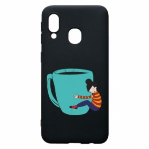 Phone case for Samsung A40 Hugging a cup of coffee - PrintSalon