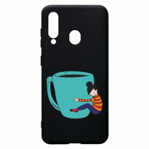 Phone case for Samsung A60 Hugging a cup of coffee - PrintSalon