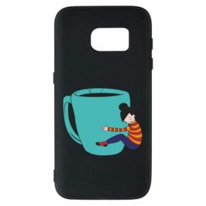 Phone case for Samsung S7 Hugging a cup of coffee - PrintSalon