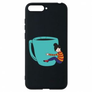 Phone case for Huawei Y6 2018 Hugging a cup of coffee - PrintSalon