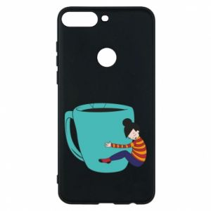 Phone case for Huawei Y7 Prime 2018 Hugging a cup of coffee - PrintSalon