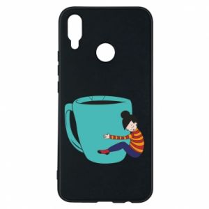 Phone case for Huawei P Smart Plus Hugging a cup of coffee - PrintSalon
