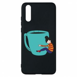 Phone case for Huawei P20 Hugging a cup of coffee - PrintSalon