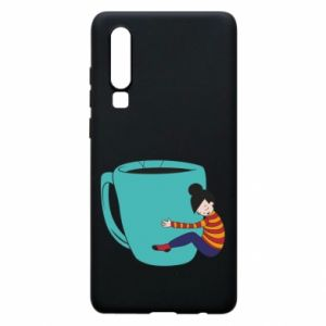 Phone case for Huawei P30 Hugging a cup of coffee - PrintSalon