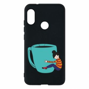 Phone case for Mi A2 Lite Hugging a cup of coffee - PrintSalon