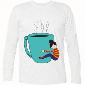 Long Sleeve T-shirt Hugging a cup of coffee - PrintSalon