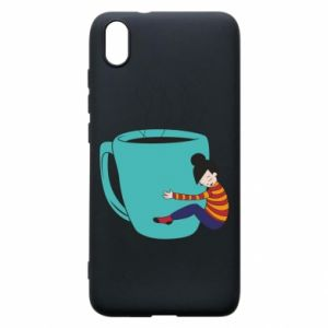 Phone case for Xiaomi Redmi 7A Hugging a cup of coffee - PrintSalon