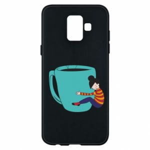 Phone case for Samsung A6 2018 Hugging a cup of coffee - PrintSalon