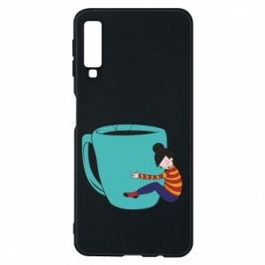 Phone case for Samsung A7 2018 Hugging a cup of coffee - PrintSalon