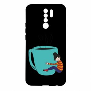 Etui na Xiaomi Redmi 9 Hugging a cup of coffee