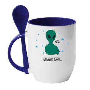 Kubek z ceramiczną łyżeczką Humans are terrible - PrintSalon
