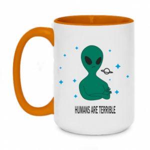Two-toned mug 450ml Humans are terrible
