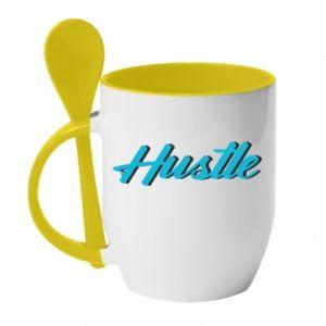 Kubek z ceramiczną łyżeczką Hustle
