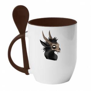 Kubek z ceramiczną łyżeczką Hyena in the skull