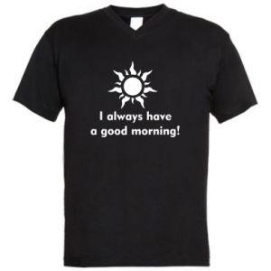 Męska koszulka V-neck I always have a good morning
