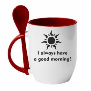 Kubek z ceramiczną łyżeczką I always have a good morning
