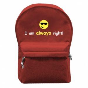 Plecak z przednią kieszenią I am always right!