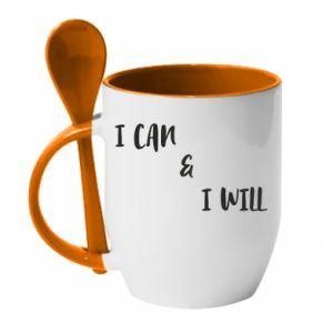 Kubek z ceramiczną łyżeczką I can & I will