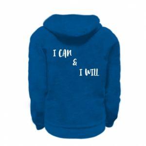 Kid's zipped hoodie % print% I can & I will